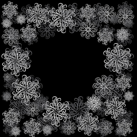 winter floral frame with snowflakes. illustration Vector