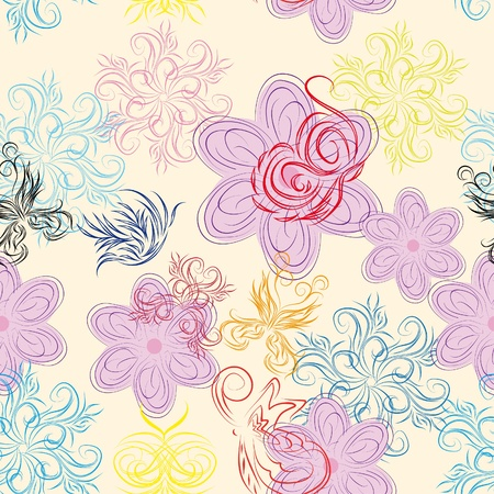 abstract seamless pattern with flowers and butterflies Stock Vector - 11383563