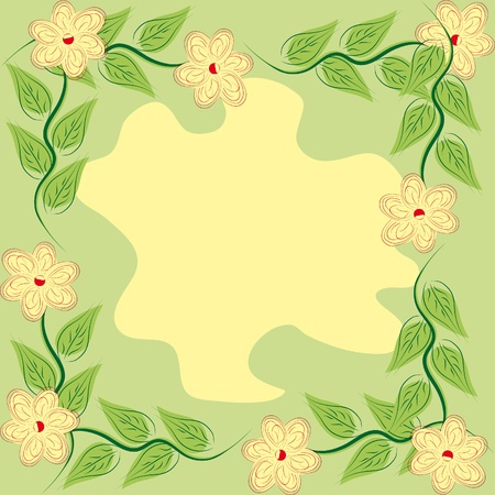 abstract frame with flowers and leaves Stock Vector - 11383535