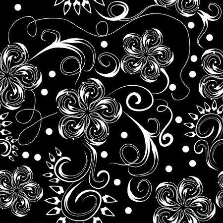 repeat structure: abstract seamless pattern with flowers and butterflies