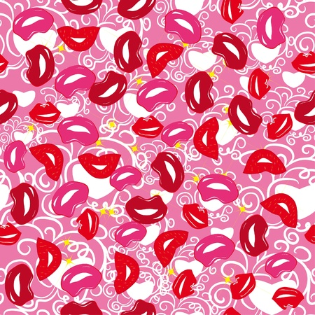 abstract seamless pattern with lips Vector