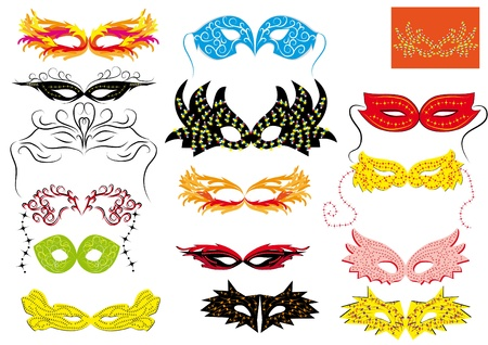 paper mask: set of abstract isolated carnival masks