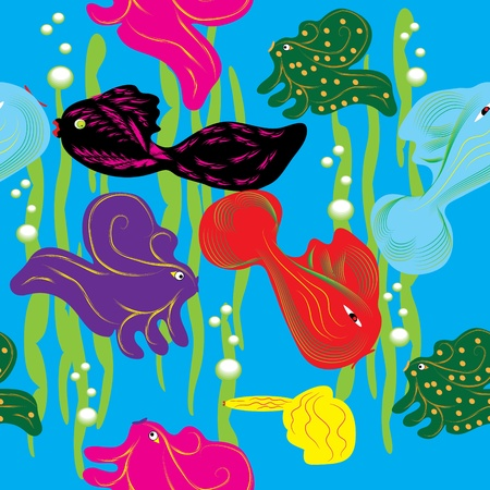 abstract seamless pattern with fishes Vector