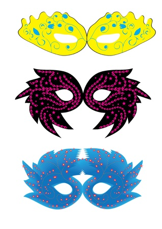 set of abstract vector isolated carnival masks Vector