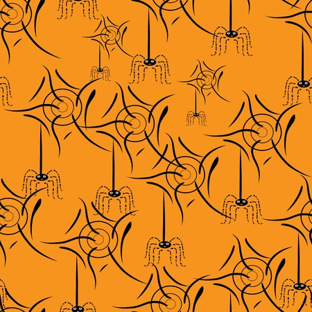springe: seamless texture with spiders ahd web. Illustration