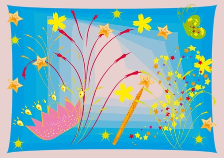 Fantastic background with a crown and a magic wand Vector