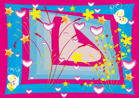 st valentin: Fantastic background with hearts, flowers and butterfly