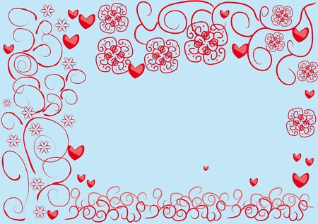 abstract frame with hearts and curling branch Vector