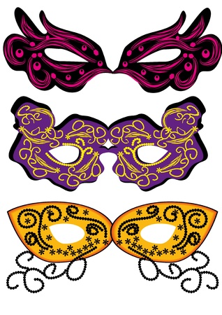 new beginning: set of vector carnival masks. abctract isolated illustration