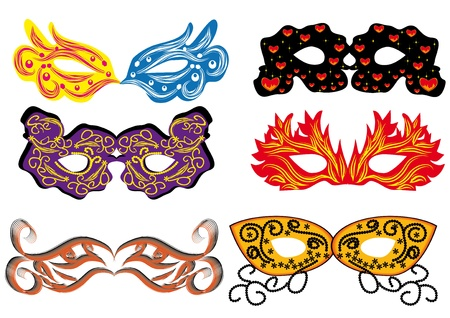 paper mask: set of vector carnival masks. abctract isolated illustration