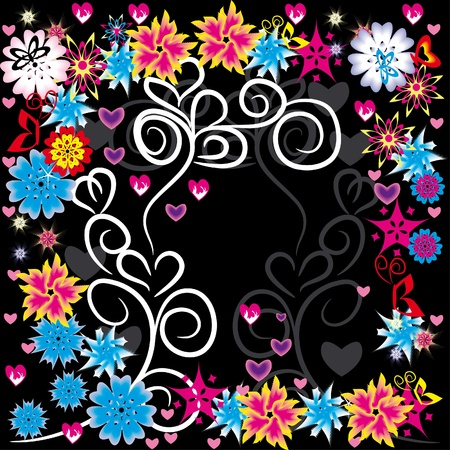 abstract floral frame with butterflies, hearts and flowers Vector