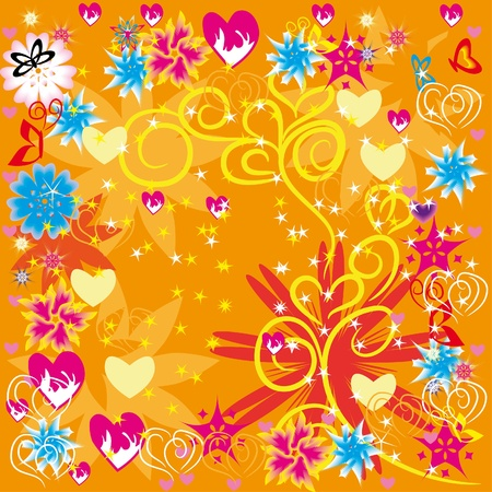 abstract floral frame with butterflies, hearts and flowers Stock Vector - 11929102