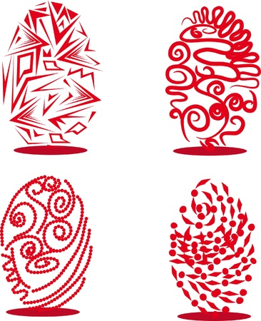 set of red easter egg on isolated background. Illustration. Vector