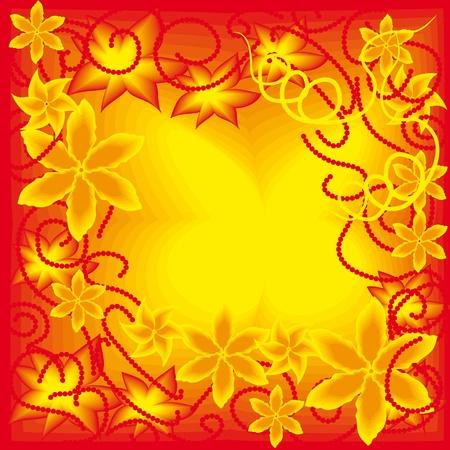 beautiful gold  floral frame. illustration Vector