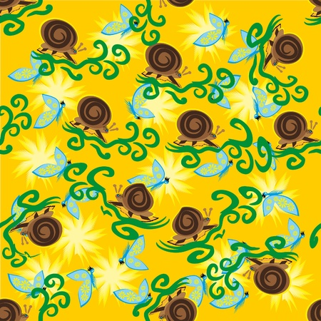 abstract seamless pattern with snails, flowers and butterflies Vector