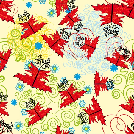 abstract seamless pattern with flowers, curl branches and butterflies Vector