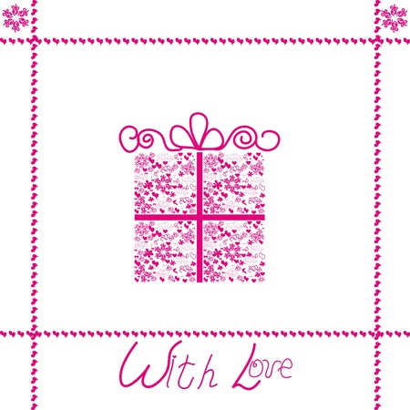 Card with the image of a celebratory box for gifts Stock Vector - 12150625