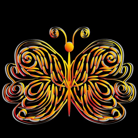 mariposa: abstract butterfly on isolated background. Illustration Illustration