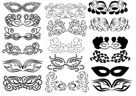 mascara de carnaval: Conjunto de vectores de máscaras de carnaval. abctract ilustración aislada