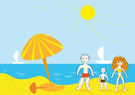 The family has a rest on the sea. Abstract vector illustration