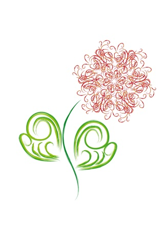 isolated flower with hearts and butterflies Stock Vector - 12436495