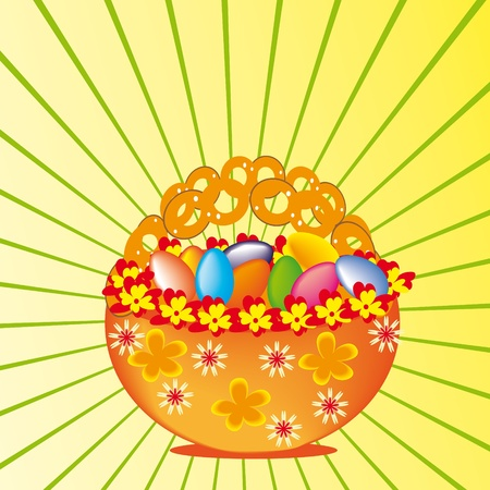 gift basket: basket with multi-coloured eggs. A gift for Easter