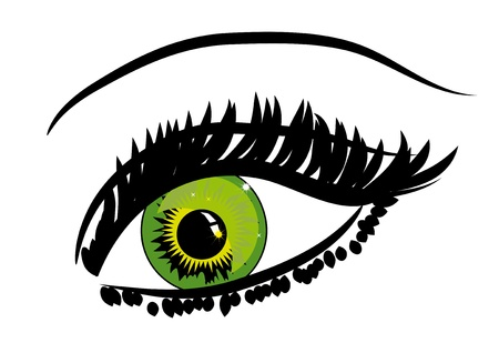 Beautiful female green eye.Vector illustration Vector