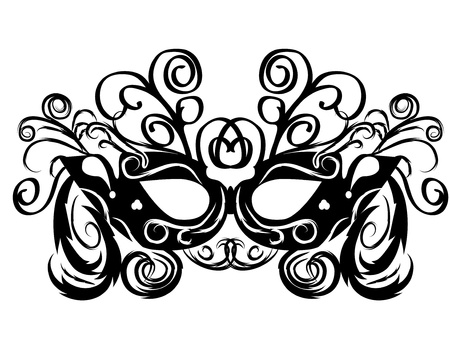 black vector carnival masks. abctract isolated illustration Vector