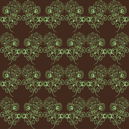 abstract seamless pattern with floral curl branches Vector