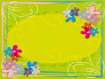 abstract flower frame with curl branch Vector