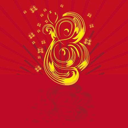Fantastic figure eight on a red background Stock Vector - 12436512