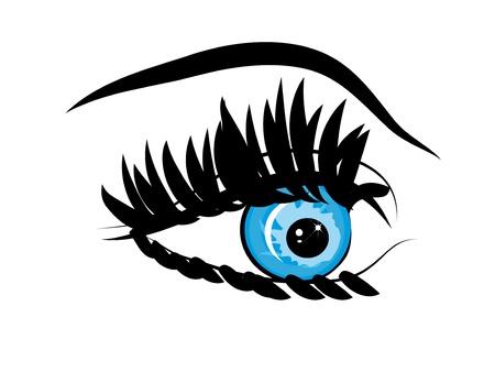 women face stare: Beautiful female blue eye.Vector illustration