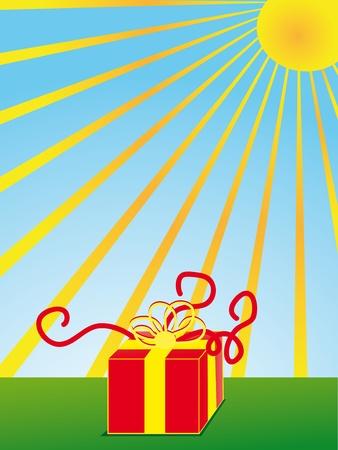 Gift box on green grass under sun Vector