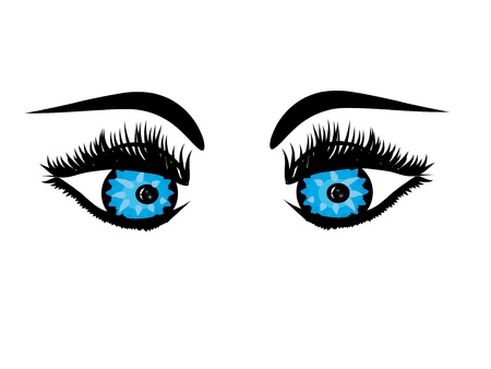 stare: Beautiful female blue eye.Vector illustration