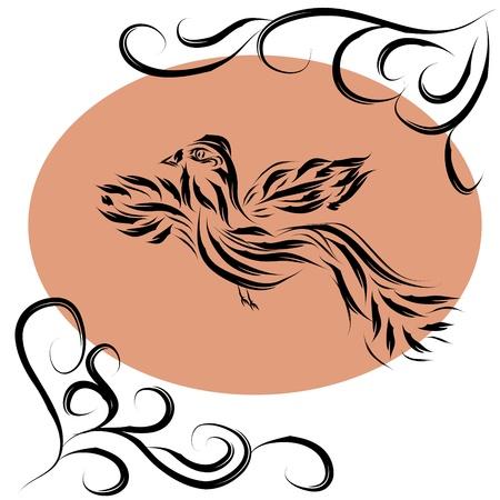 vintage bird: Decorative paradise bird on isolated background Illustration