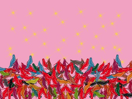 vector pattern with colorful shoes. Illustration Vector