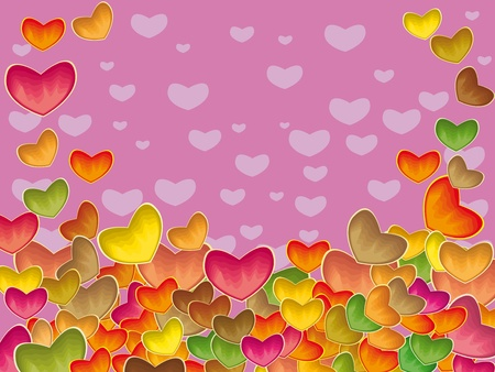 vector pattern with colorful hearts. Illustration Vector