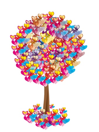 vector tree with colorful hearts on isolated background. Abstract illustration Vector
