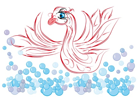 vials: Decorative paradise fantastic swan in water vials Illustration