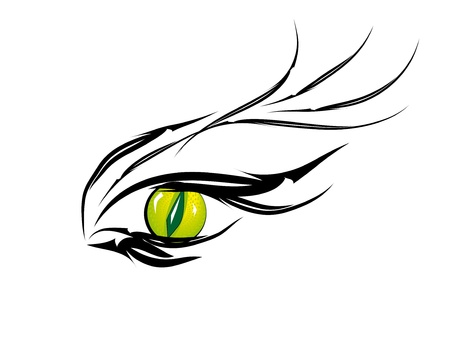 Beautiful green eye of cats Vector illustration