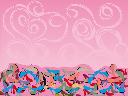 pattern with colorful shoes. Illustration Vector