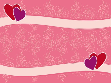 florid: festive gentle vintage background with two hearts Illustration