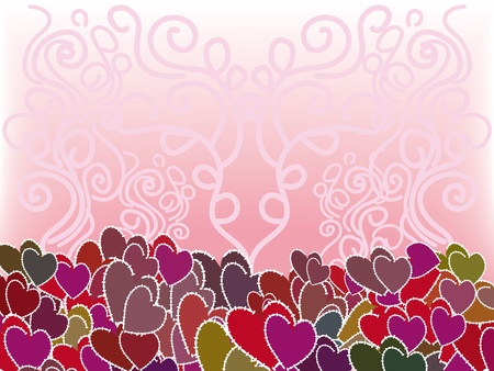 pattern with colorful hearts  Illustration Vector