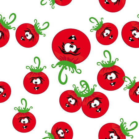 cartoon seamless with animated tomatoes. Abstract vector illustration Vector