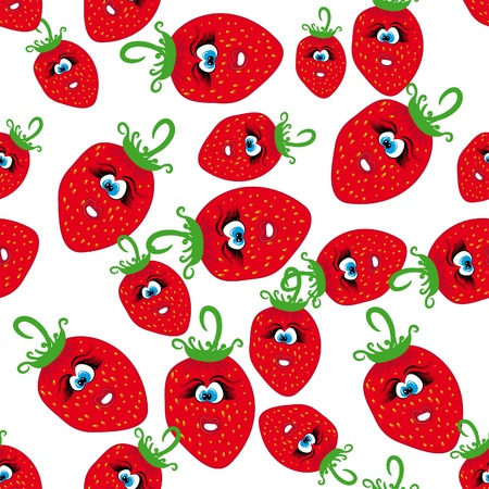 cartoon seamless with animated strawberries. Vector