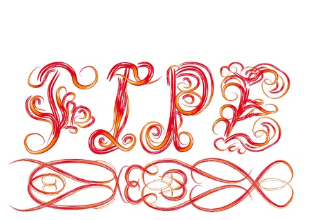 word  Love  from beautiful letters with curls Vector