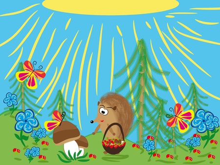 animated film: Series: wood friends. Hedgehog. Vector illustration