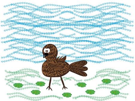 Series: wood friends. small birdie. Vector illustration