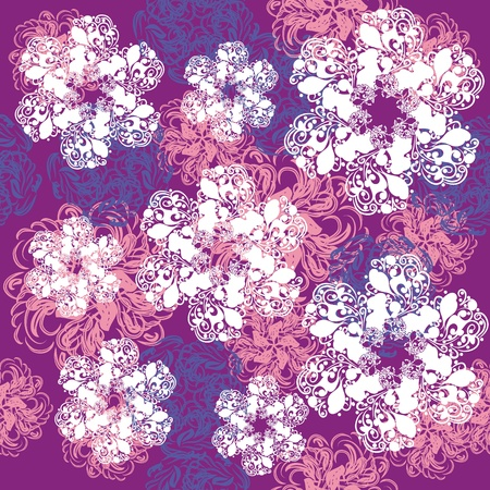 abstract seamless pattern with cartoon flowers Vector