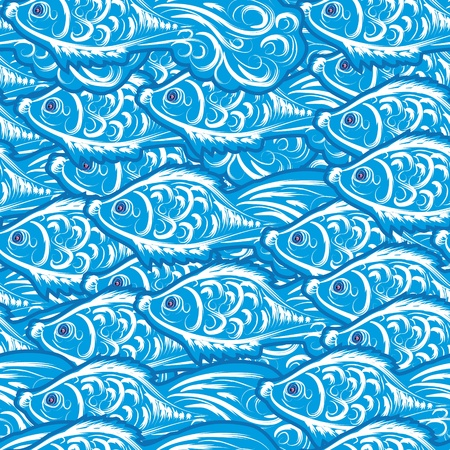 abstract seamless with fishes. Vector background